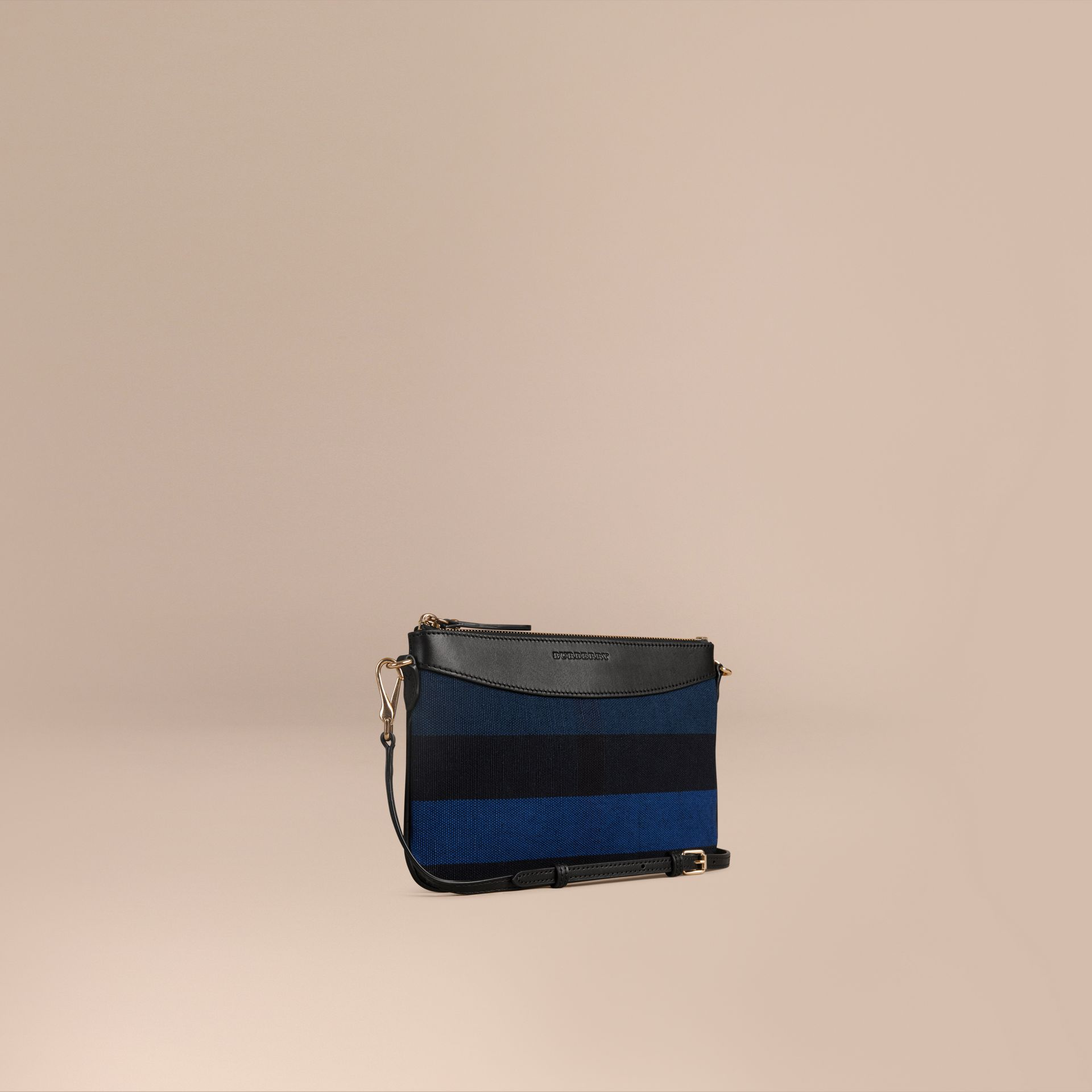 Ultramarine blue Canvas Check Clutch Bag Ultramarine Blue - gallery image 1