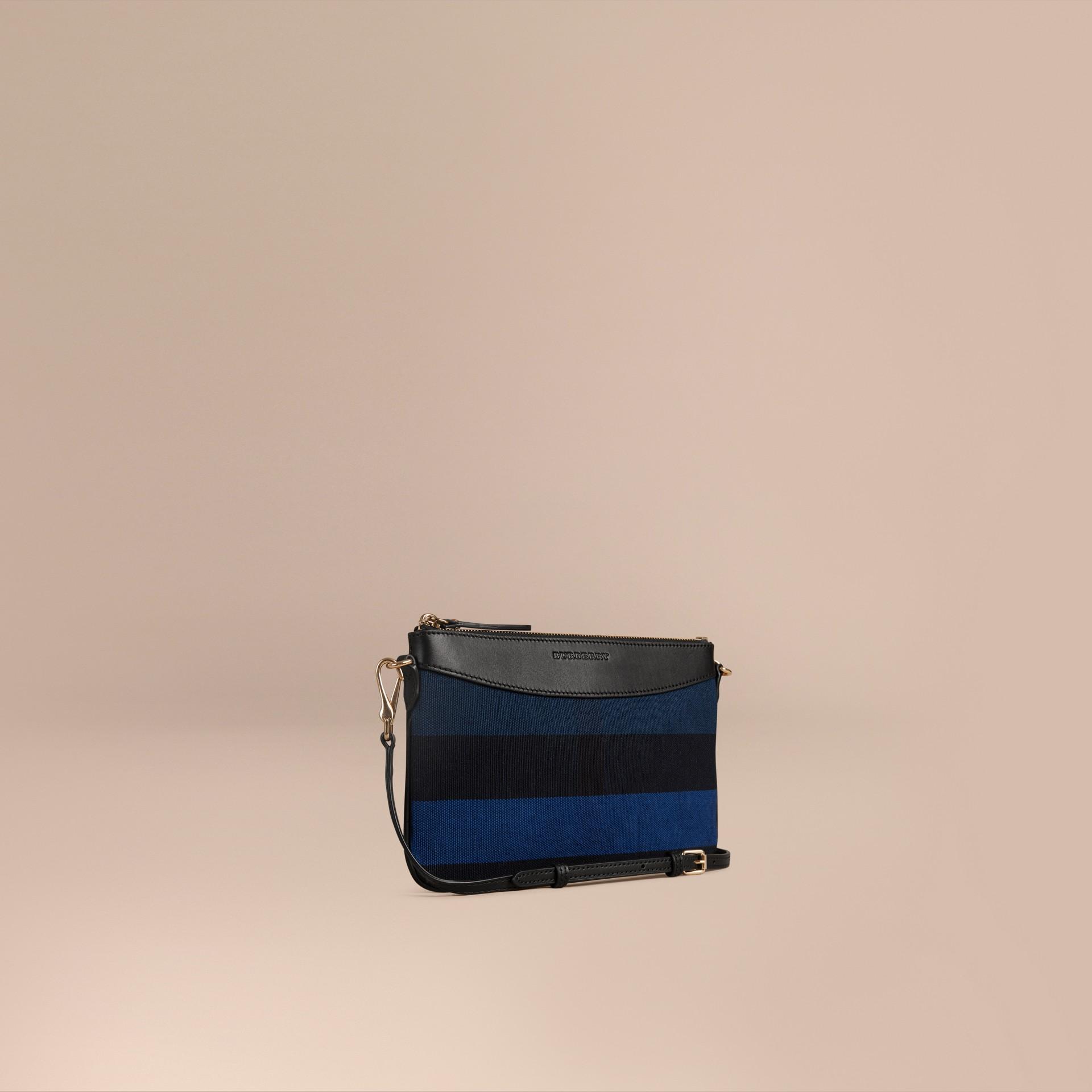 Bleu ultramarine Clutch Canvas check Bleu Ultramarine - photo de la galerie 1
