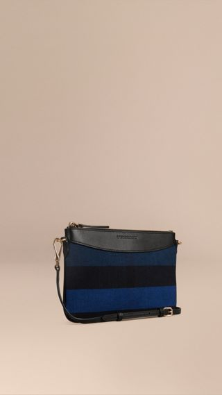 Canvas Check Clutch Bag