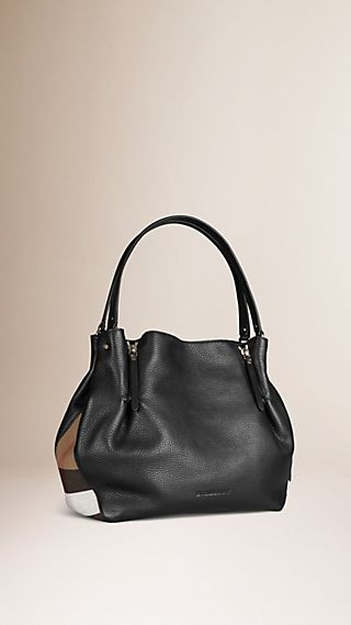 Sac tote medium en cuir et touches de check