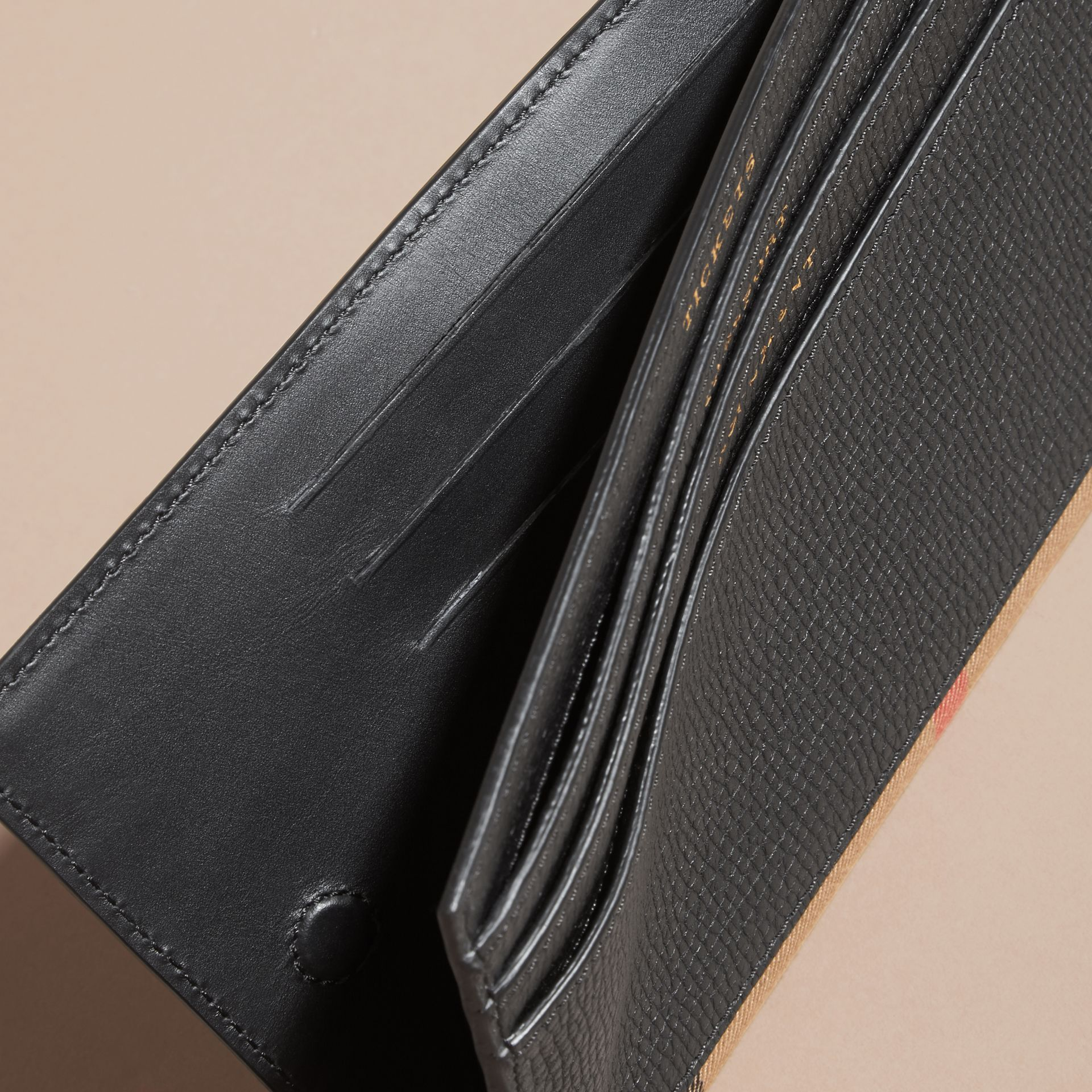 House Check and Grainy Leather Travel Wallet Black - gallery image 5