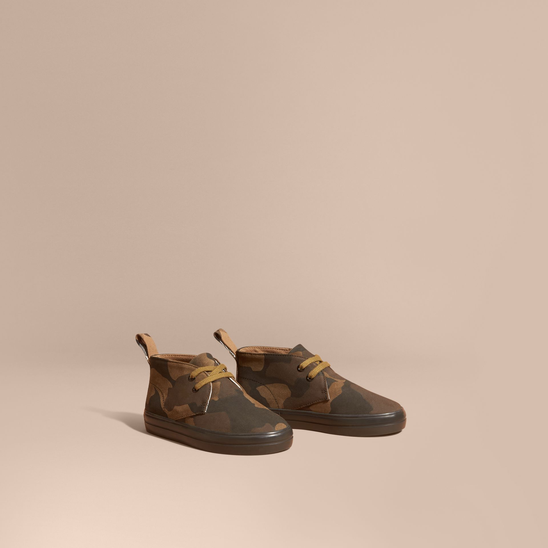 Dark green ochre Camouflage Print Suede Lace-up Desert Boots - gallery image 1