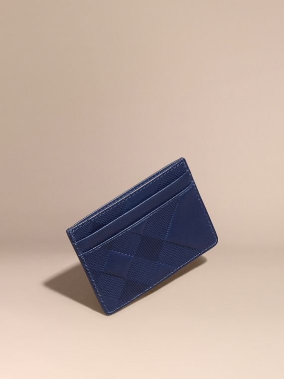Check Embossed Leather Card Case Lapis Blue