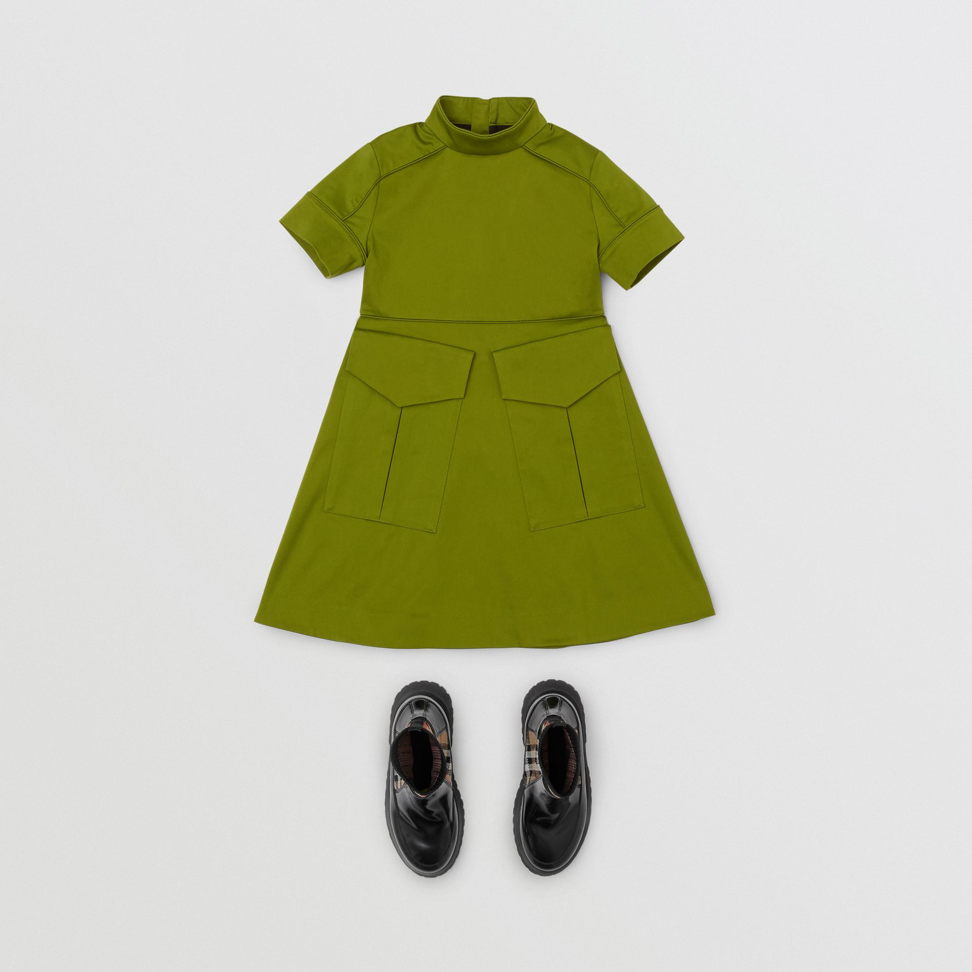 Short-sleeve Cotton Sateen Funnel Neck Dress in Bright Green - Girl | Burberry - gallery image 2