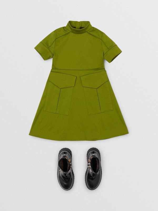Short-sleeve Cotton Sateen Funnel Neck Dress in Bright Green - Girl | Burberry - cell image 2