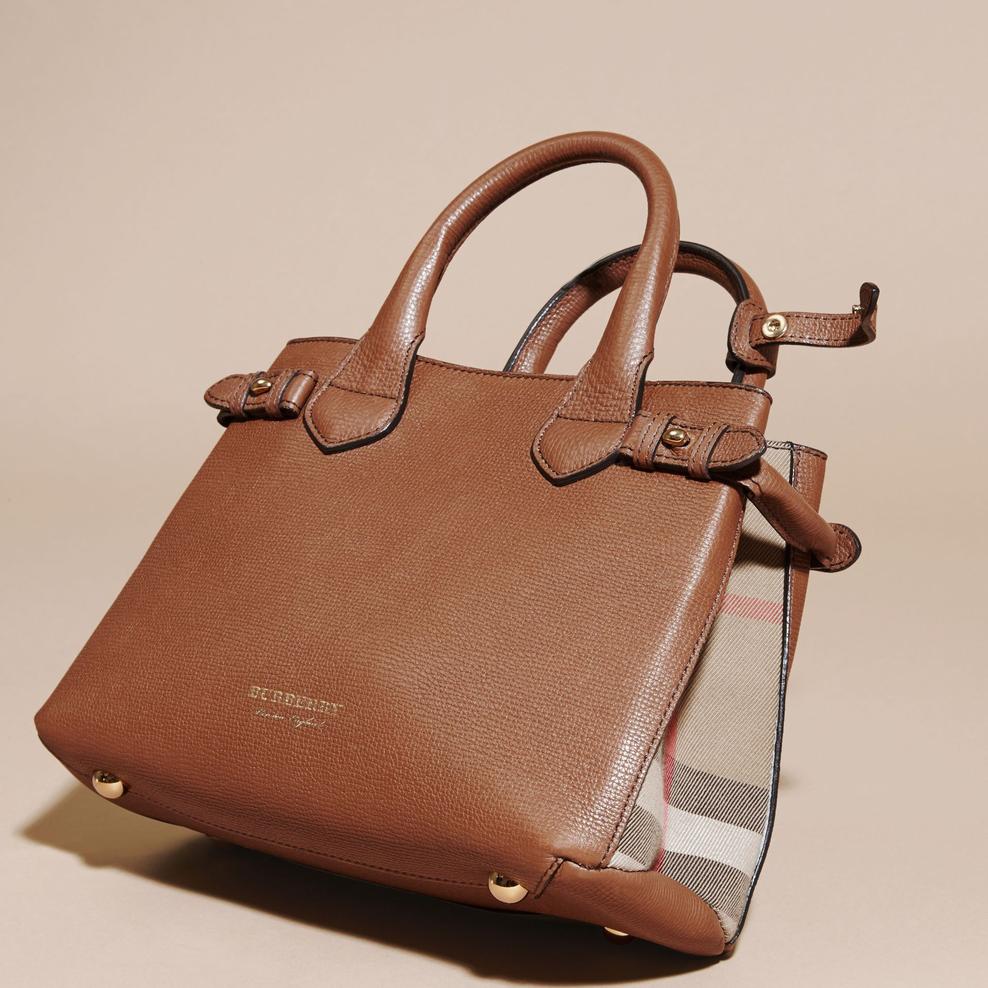 The Small Banner in Leather and House Check in Tan - Women | Burberry - gallery image 5