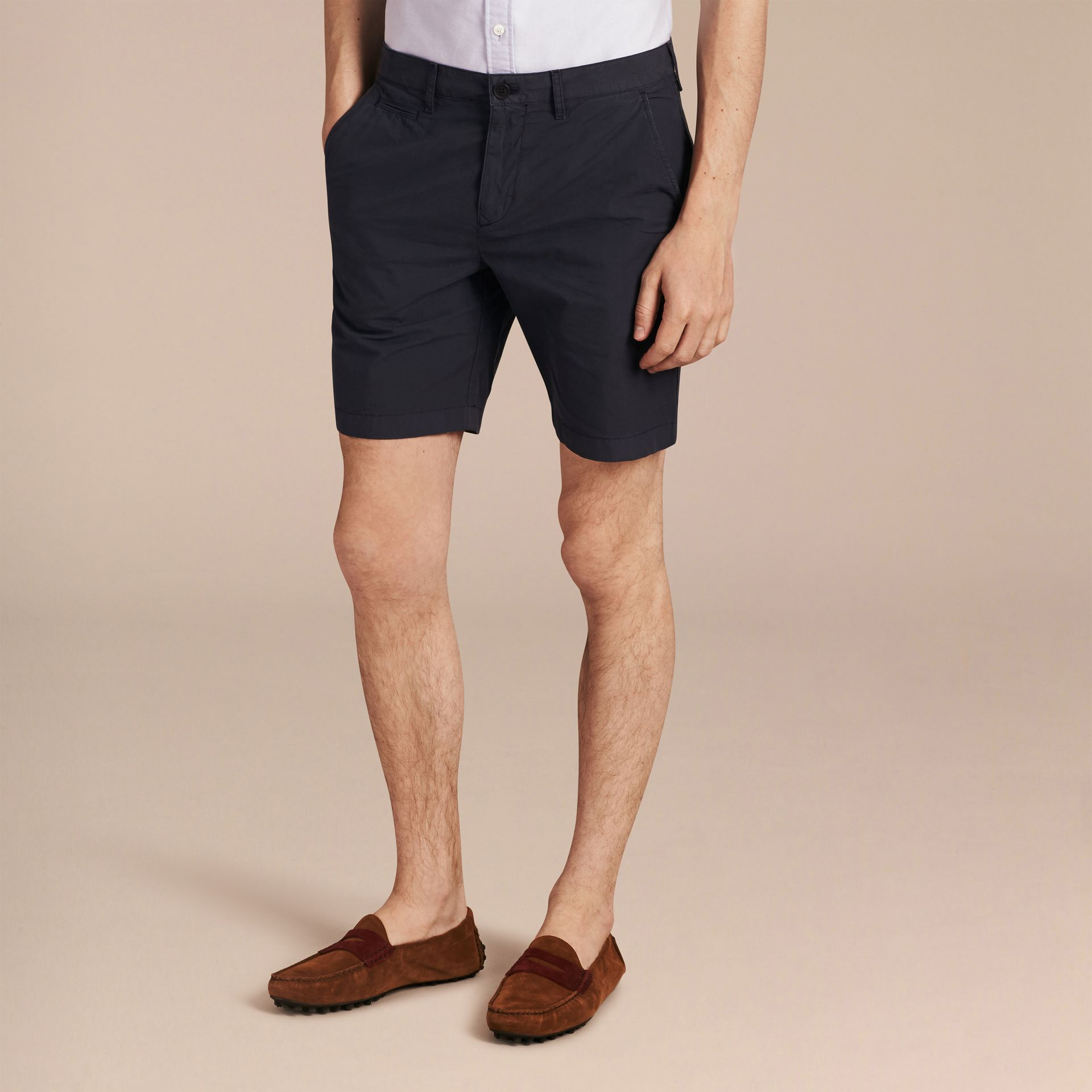 Indigo Cotton Poplin Chino Shorts Indigo - gallery image 6