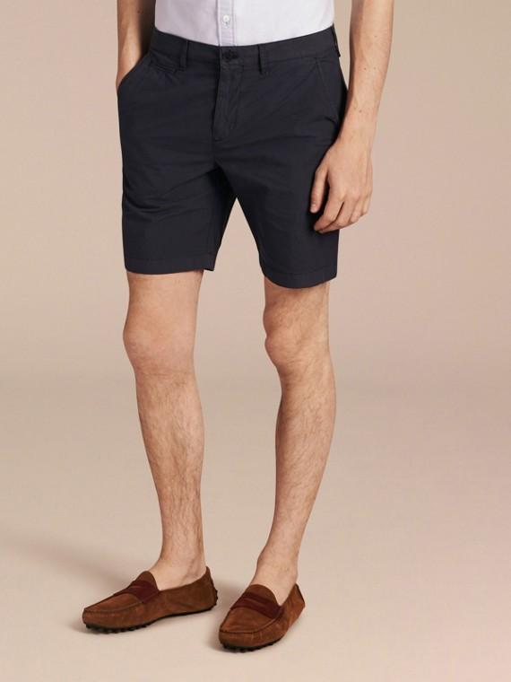 Pantaloncini chino in popeline di cotone Indaco