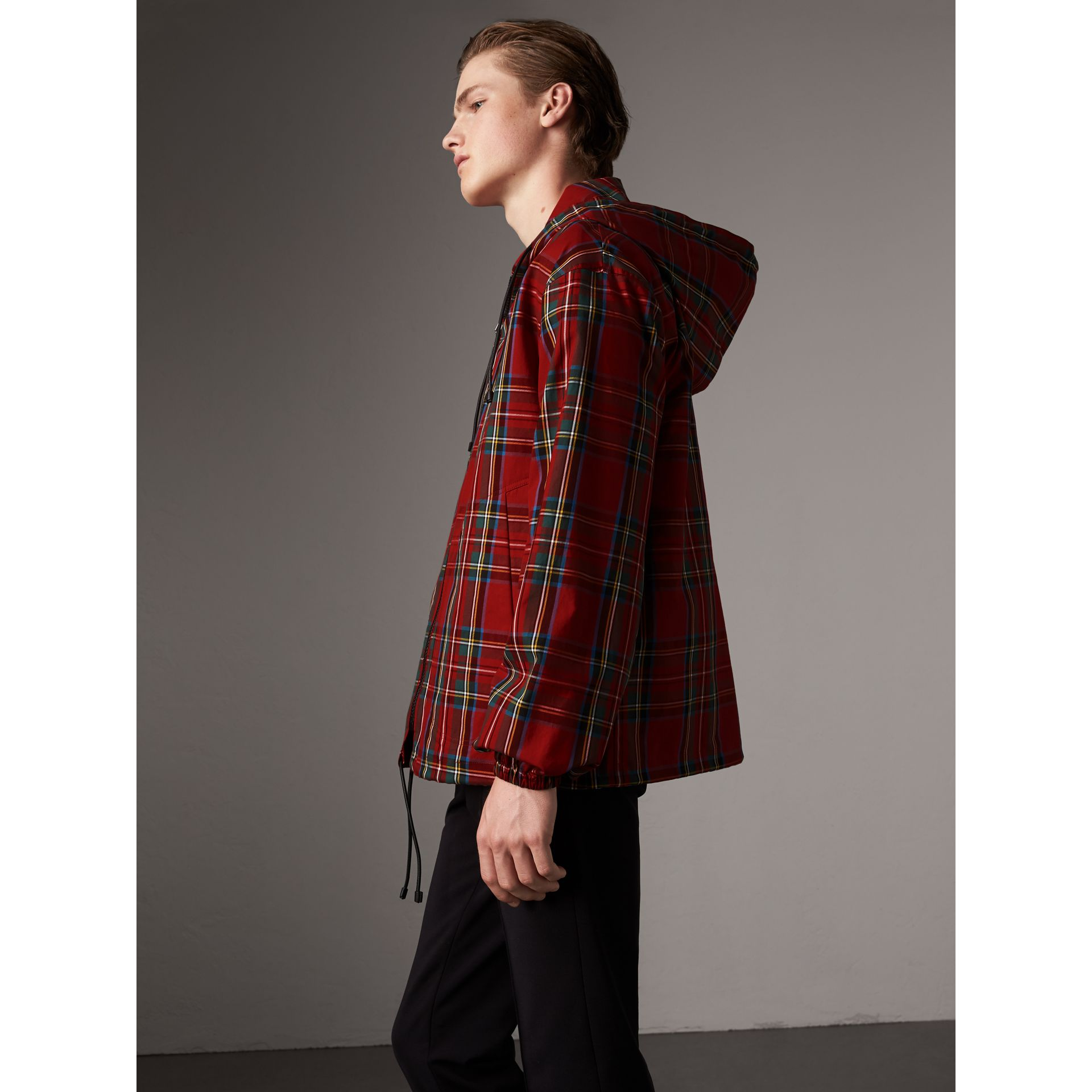 Tartan Cotton Hooded Jacket in Bright Red - Men | Burberry United Kingdom - gallery image 6