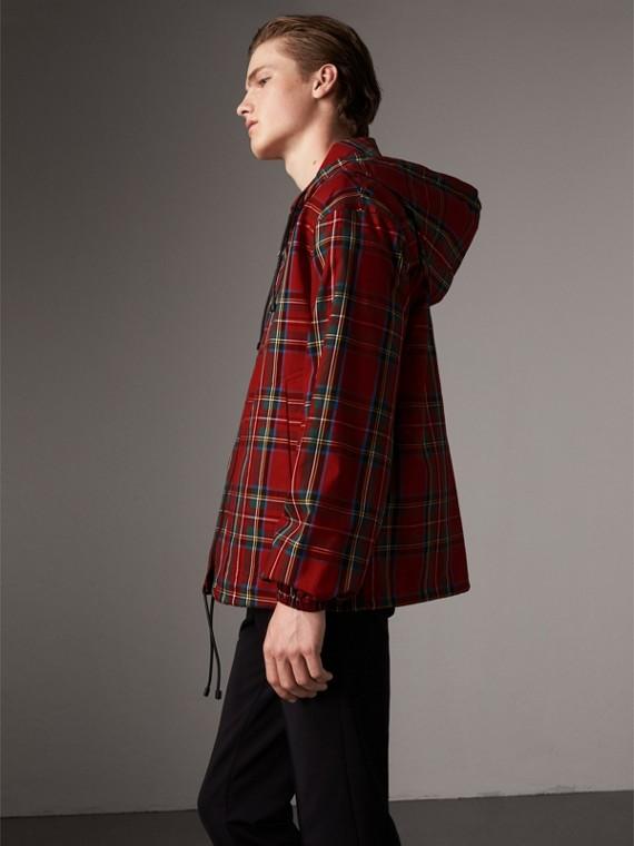 Veste à capuche en coton à motif tartan (Rouge Vif)