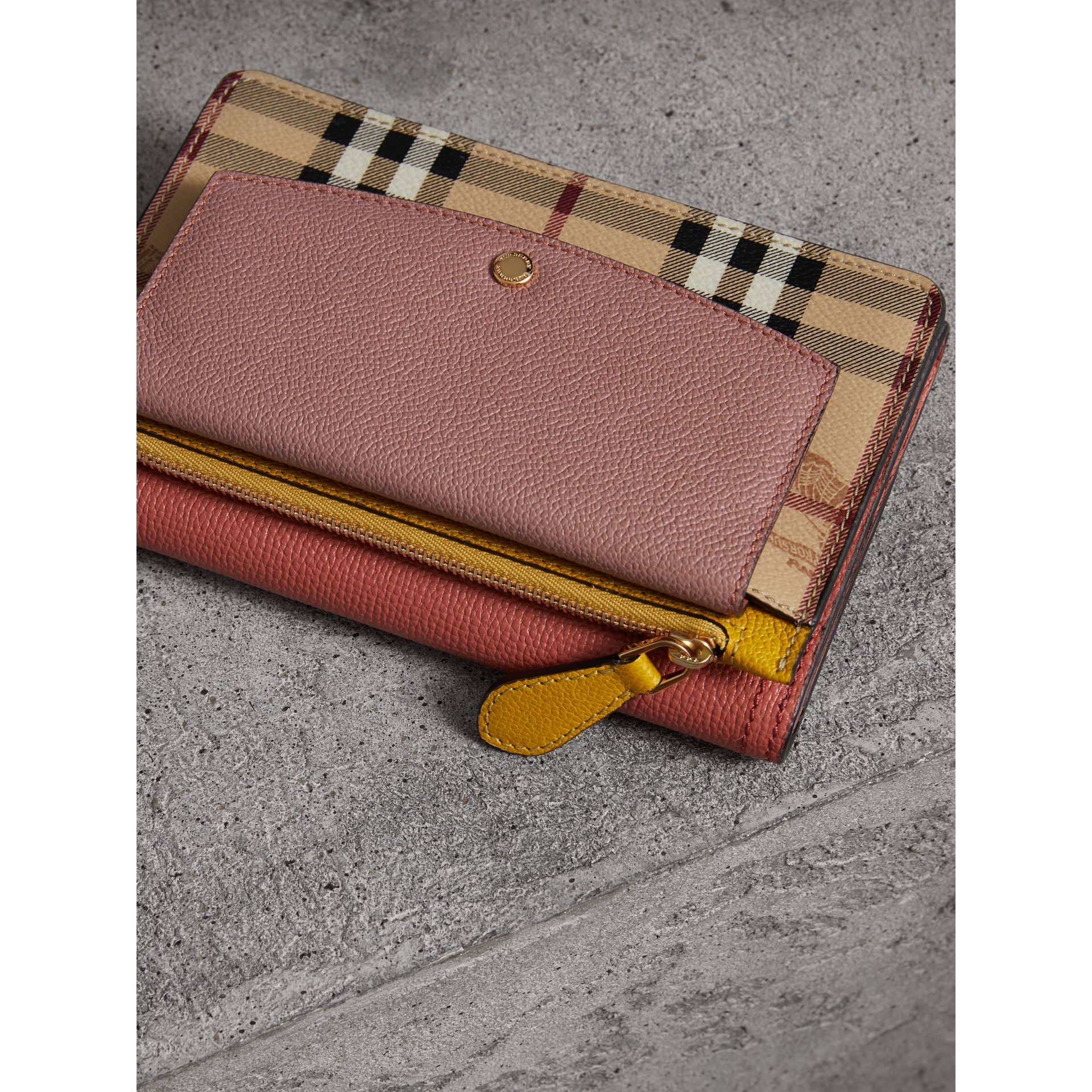 Leather and Haymarket Check Wristlet Wallet in Cinnamon Red/multicolour - Women | Burberry - gallery image 4