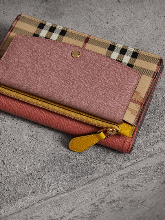 Leather and Haymarket Check Wristlet Wallet in Cinnamon Red/multicolour - Women | Burberry - cell image 3