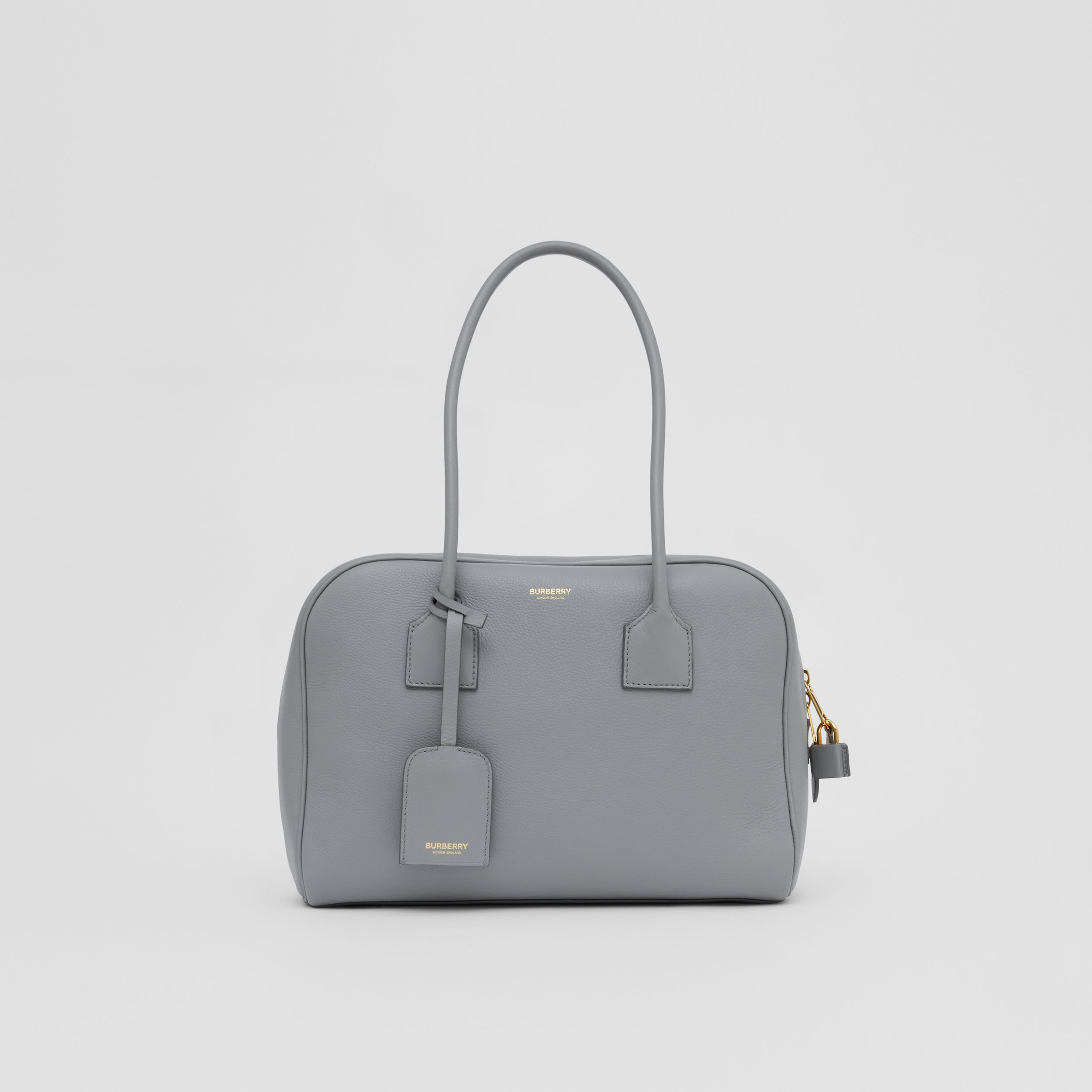 Medium Leather Half Cube Bag in Cloud Grey - Women | Burberry Hong Kong S.A.R. - 1