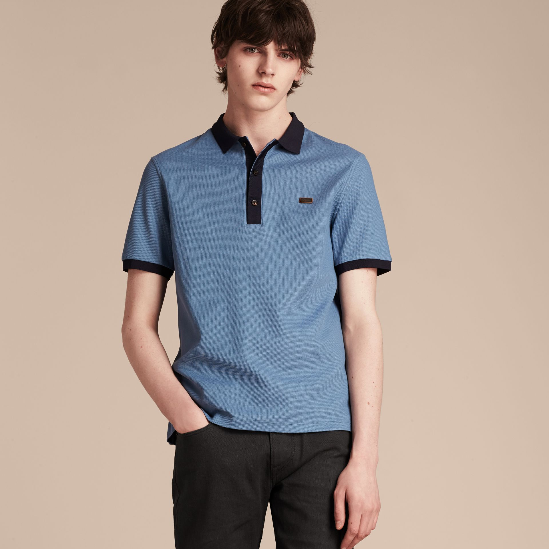 Pale cornflower blue/bright navy Mercerised Cotton Piqué Polo Shirt Pale Cornflower Blue/bright Navy - gallery image 4