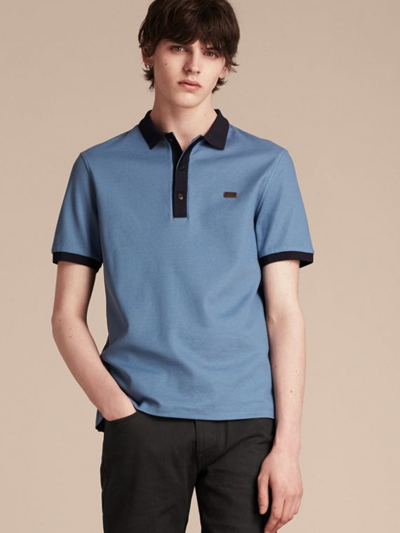Pale cornflower blue/bright navy Mercerised Cotton Piqué Polo Shirt Pale Cornflower Blue/bright Navy - cell image 3