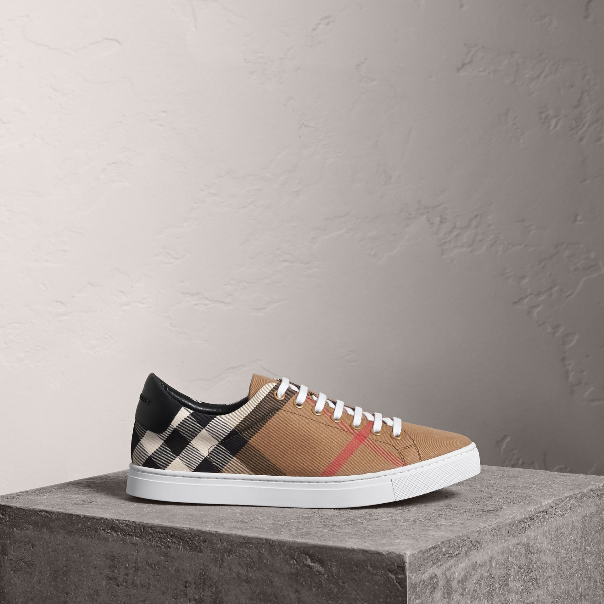 House Check and Leather Sneakers in Check/black - Men | Burberry Australia - gallery image 0