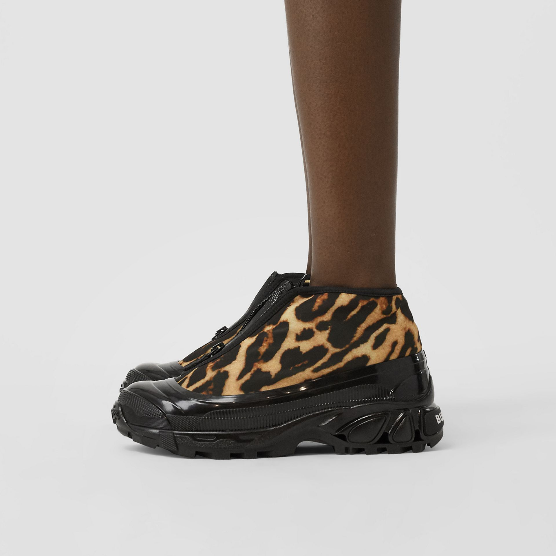 Leopard Print Nylon Arthur Sneakers in Camel - Women | Burberry - gallery image 2