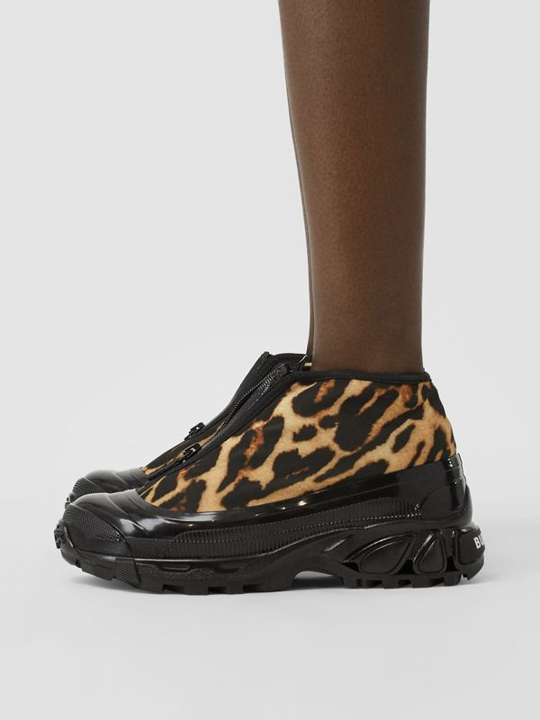 Leopard Print Nylon Arthur Sneakers in Camel - Women | Burberry - cell image 2