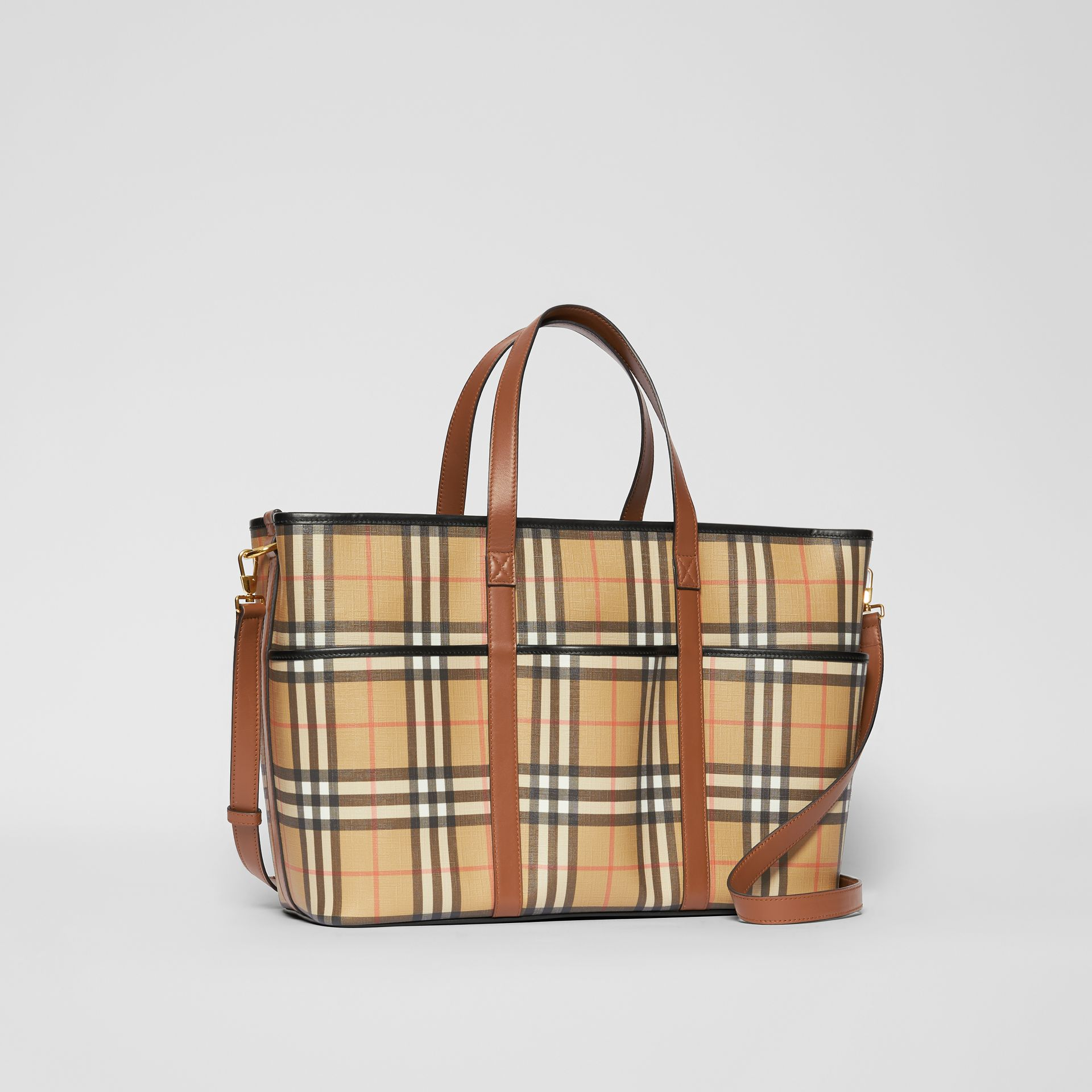 Vintage Check E-canvas Baby Changing Bag in Archive Beige - Children | Burberry United States - gallery image 4
