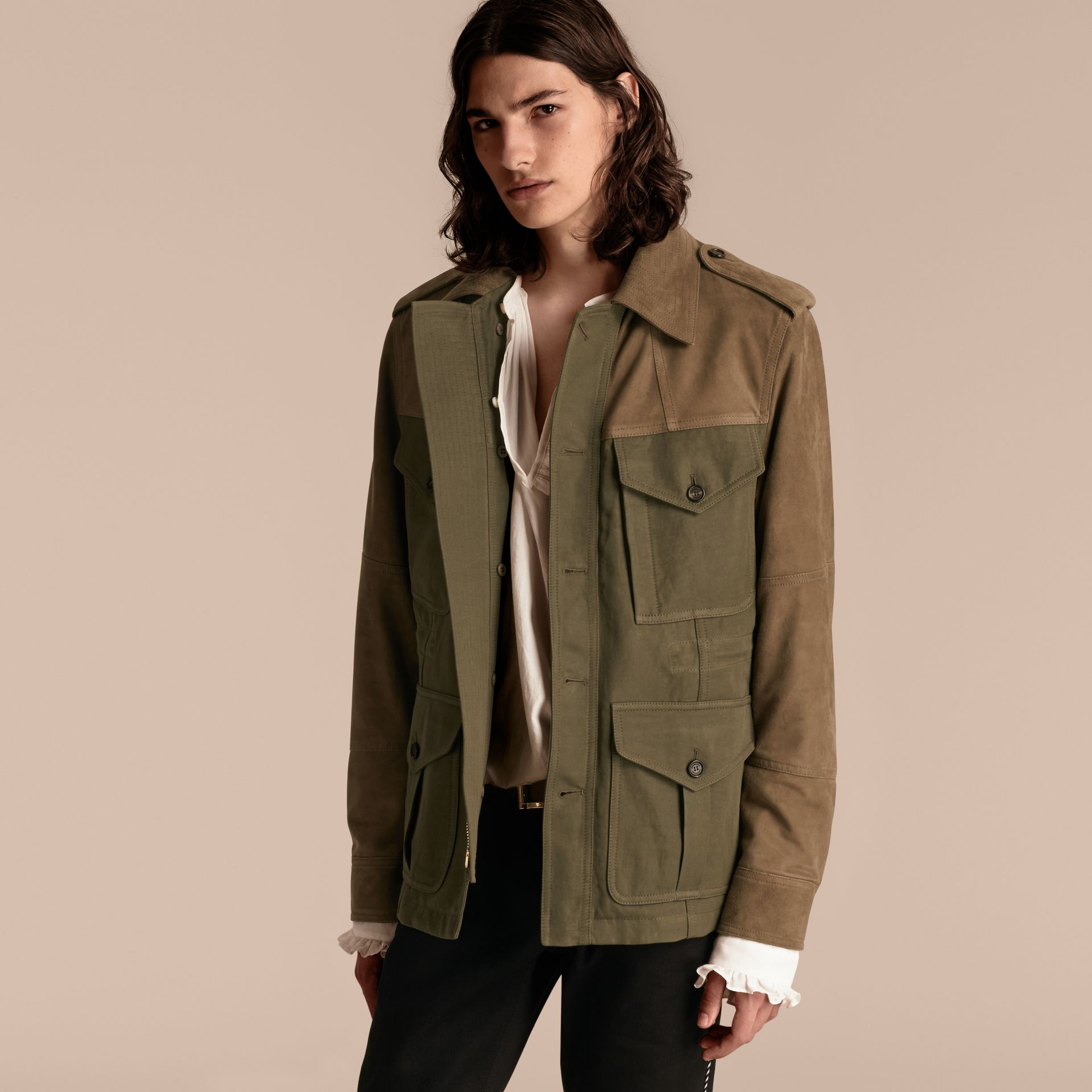 Military green Ramie Cotton and Suede Field Jacket - gallery image 7