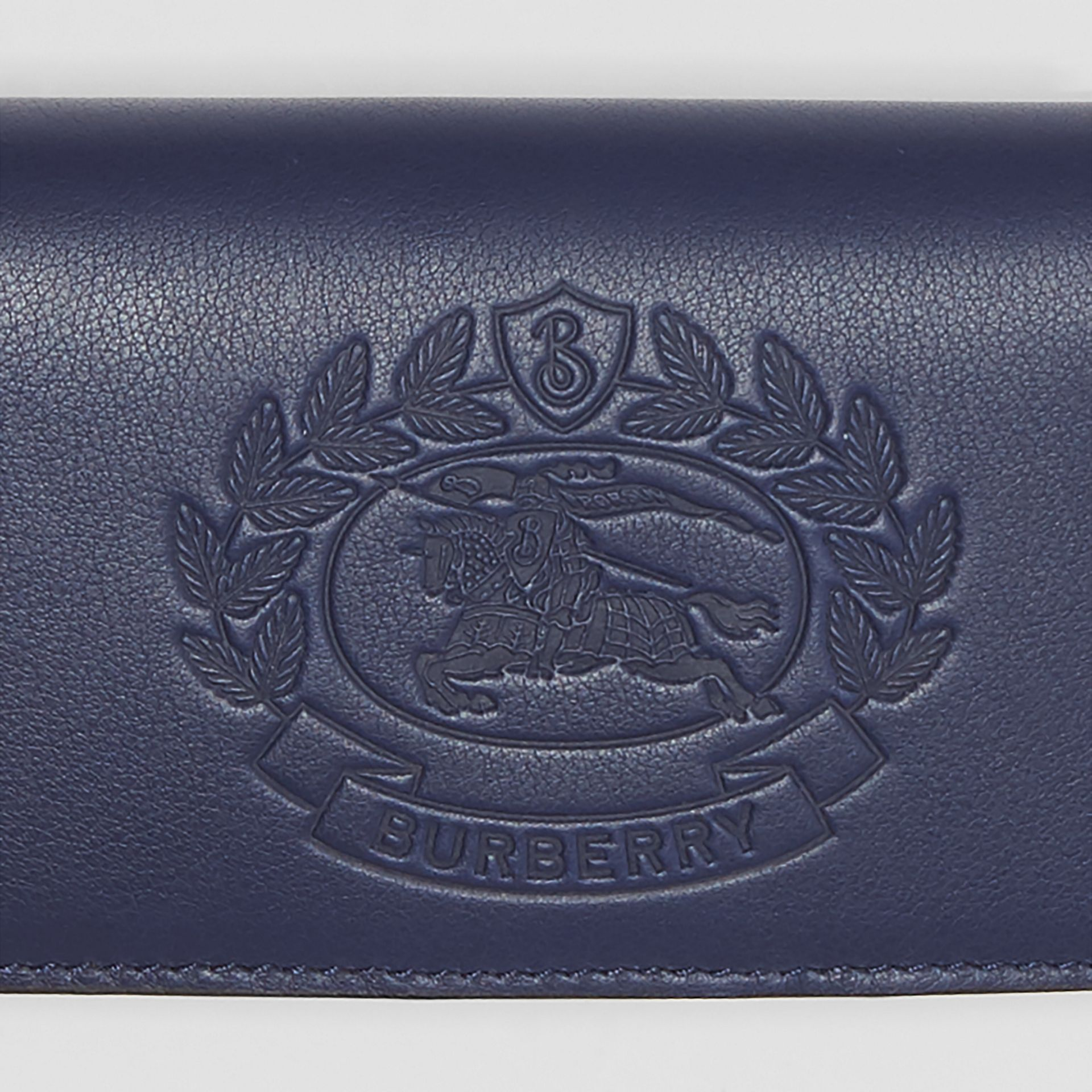 Small Embossed Crest Two-tone Leather Wallet in Regency Blue - Women | Burberry United Kingdom - gallery image 1