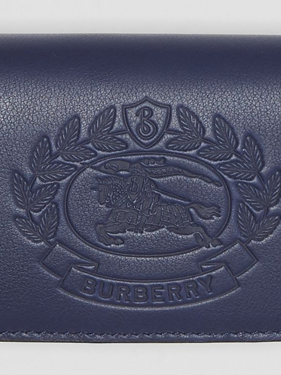 Small Embossed Crest Two-tone Leather Wallet in Regency Blue - Women | Burberry - cell image 1