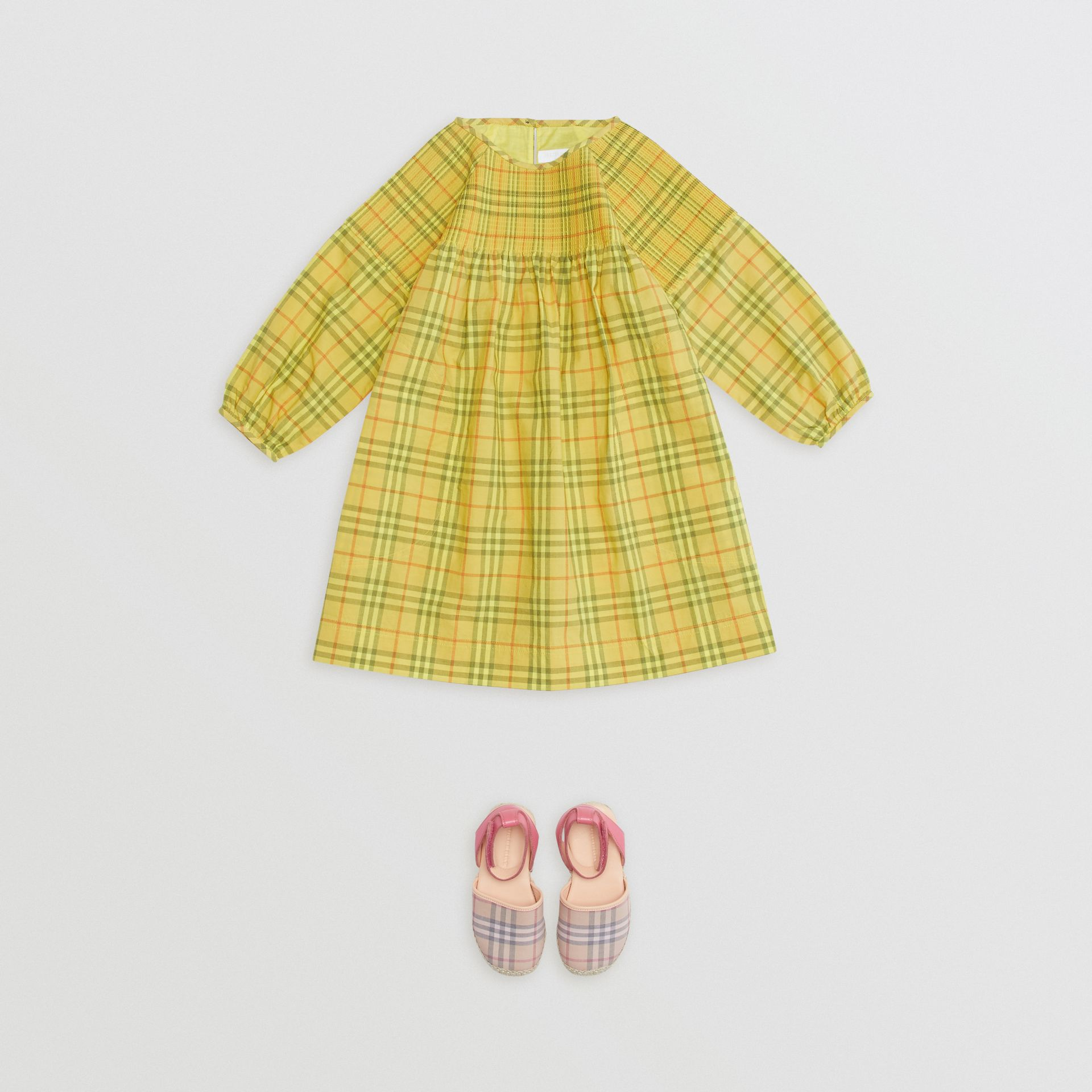 Smocked Check Cotton Dress in Citrus Yellow | Burberry - gallery image 2