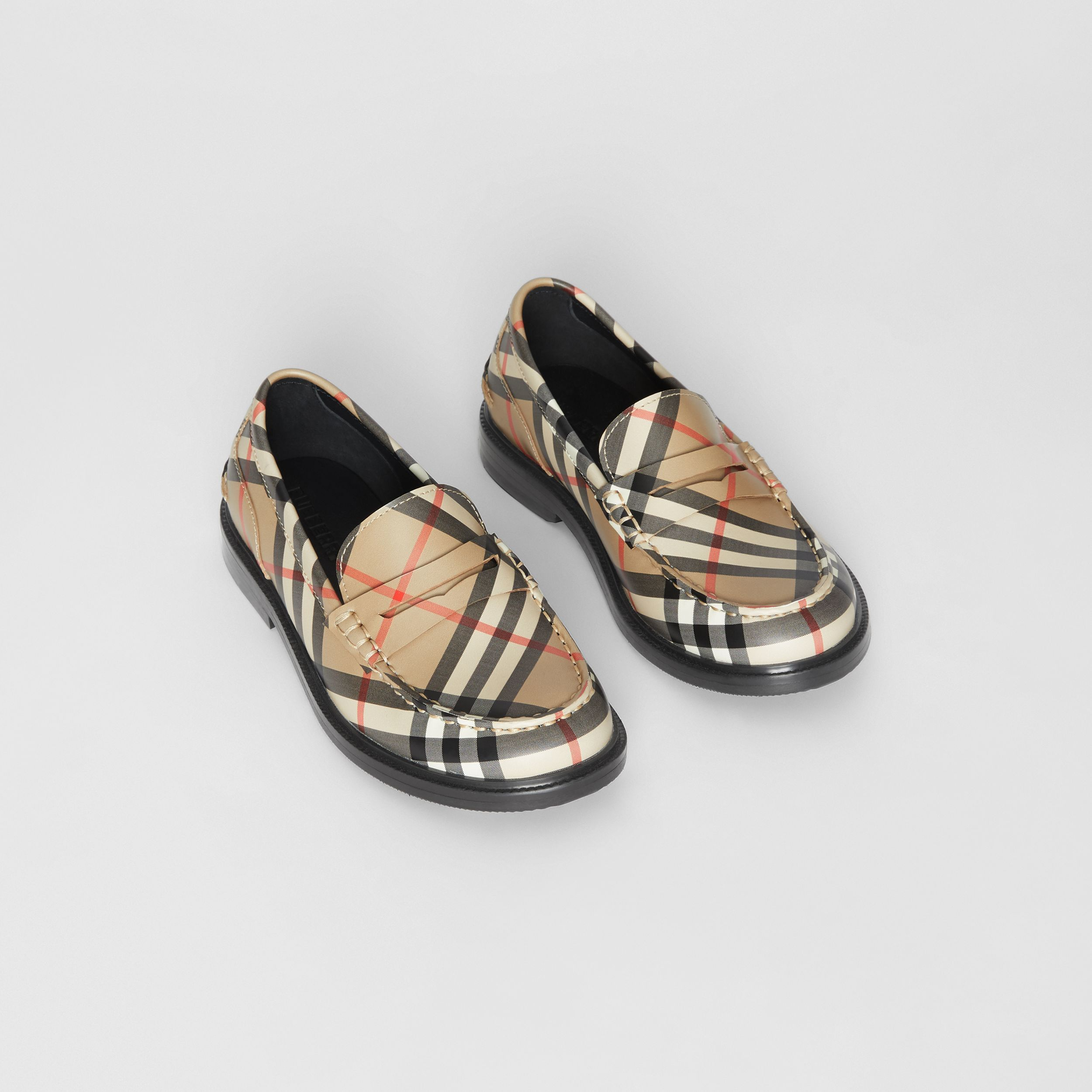 Vintage check Leather Loafers in Archive Beige - Children | Burberry - 1