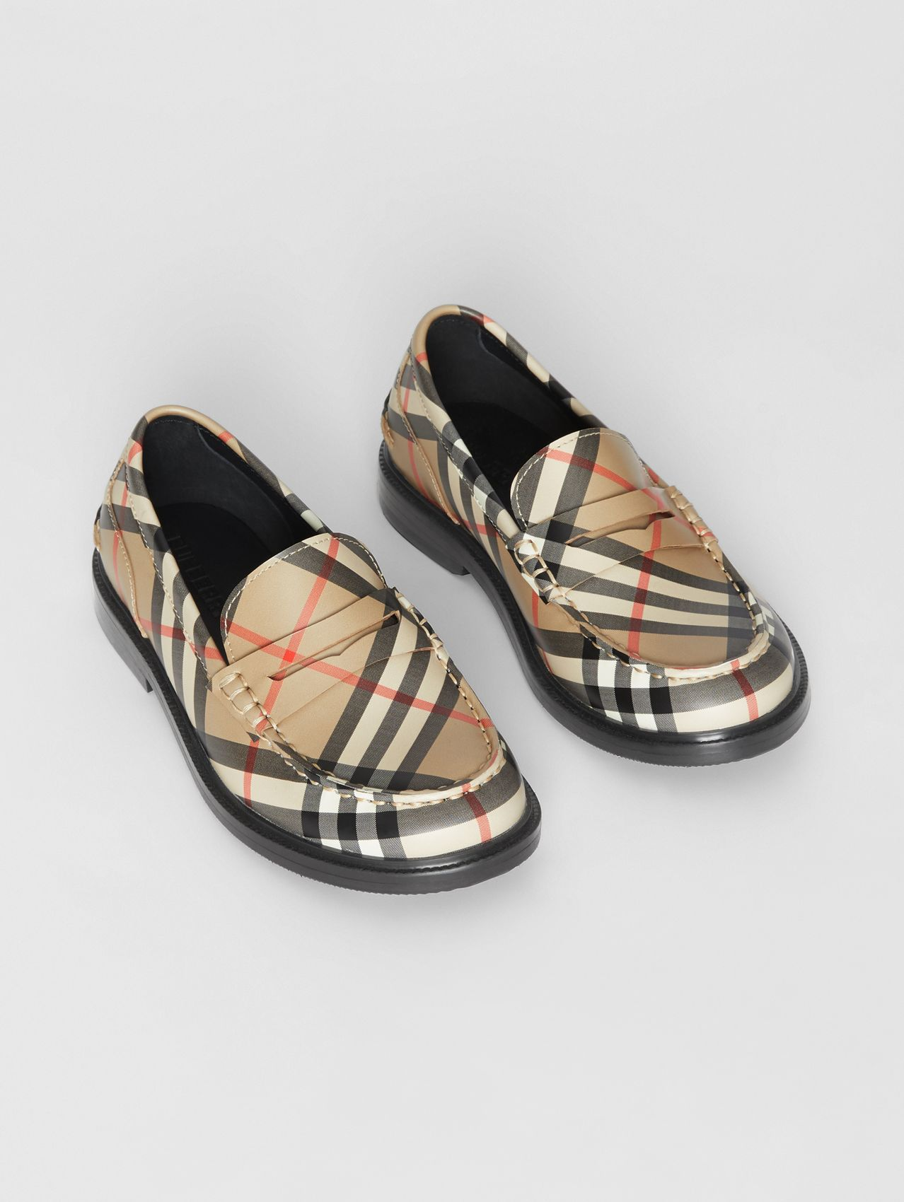 Vintage check Leather Loafers in Archive Beige