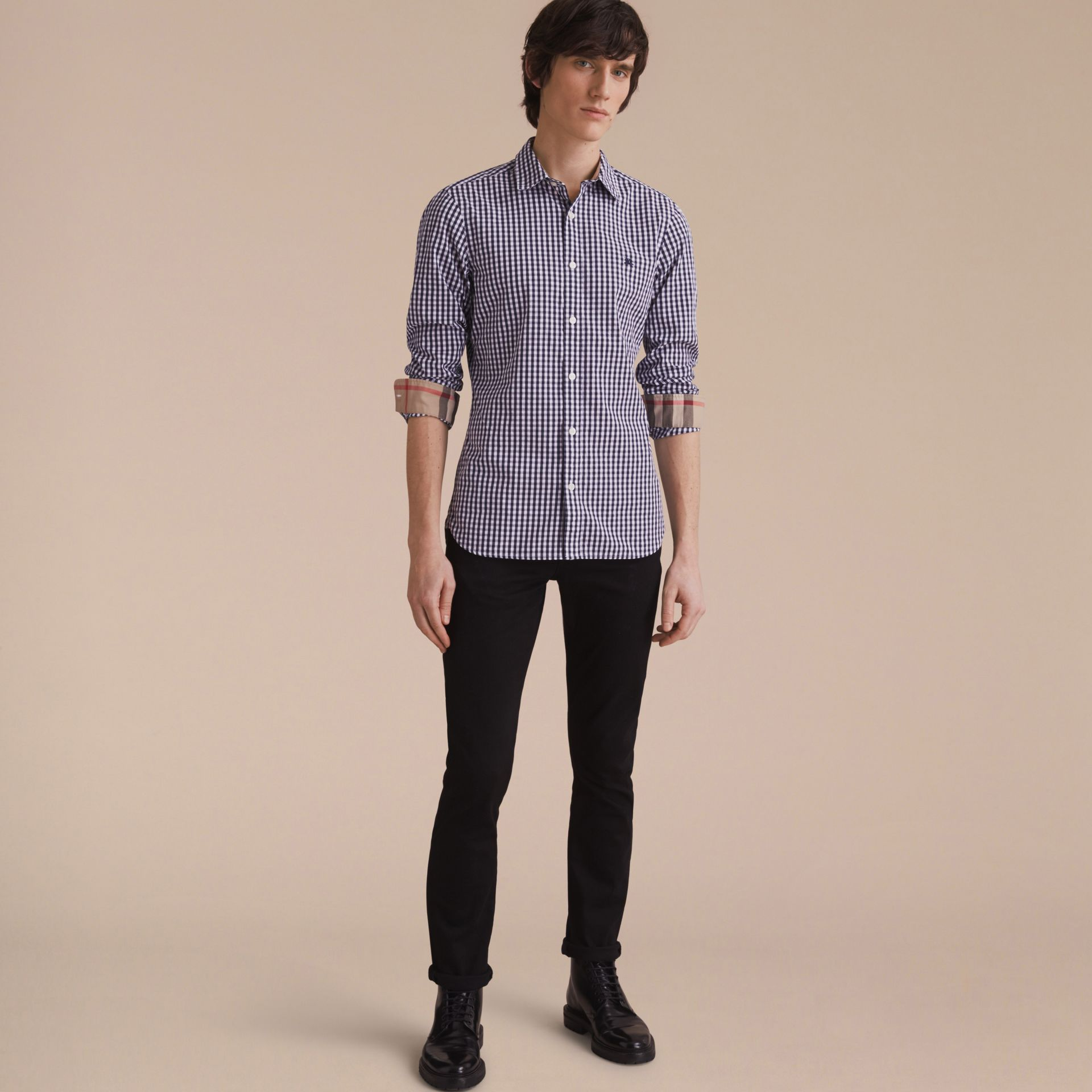 Gingham Cotton Poplin Shirt with Check Detail Ink Blue - gallery image 6