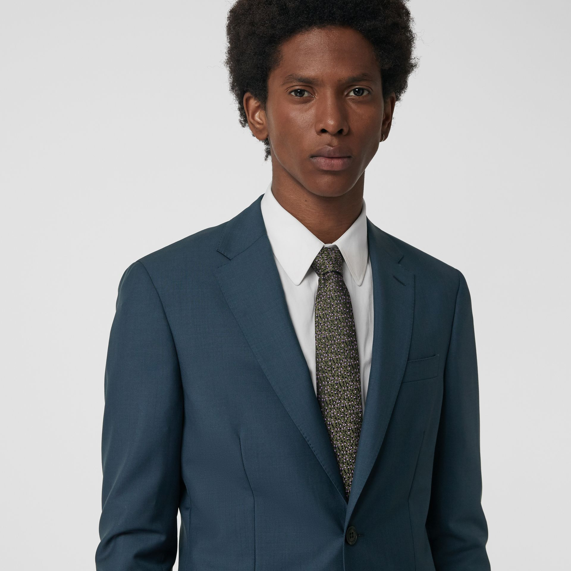 Soho Fit Wool Mohair Suit in Dark Pewter Blue - Men | Burberry United Kingdom - gallery image 1