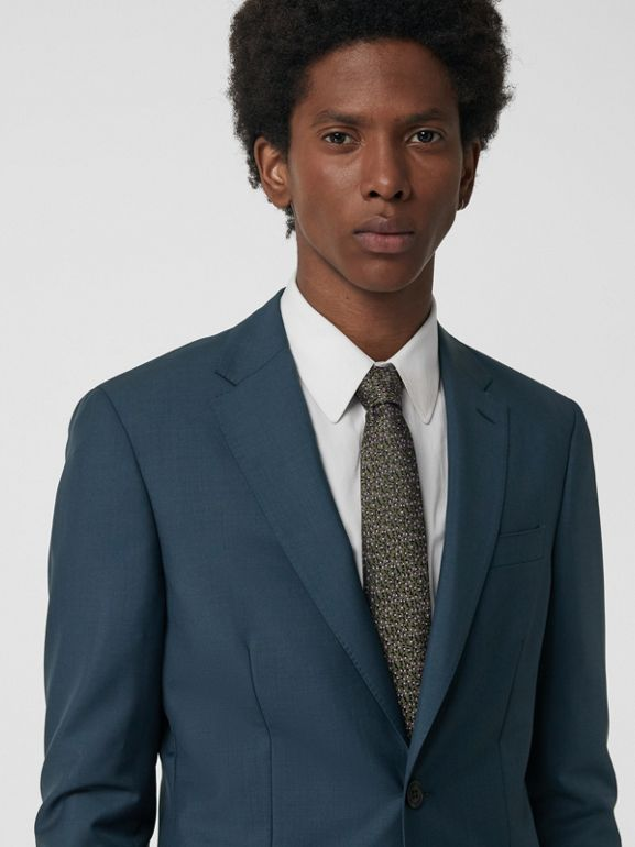 Soho Fit Wool Mohair Suit in Dark Pewter Blue - Men | Burberry United Kingdom - cell image 1