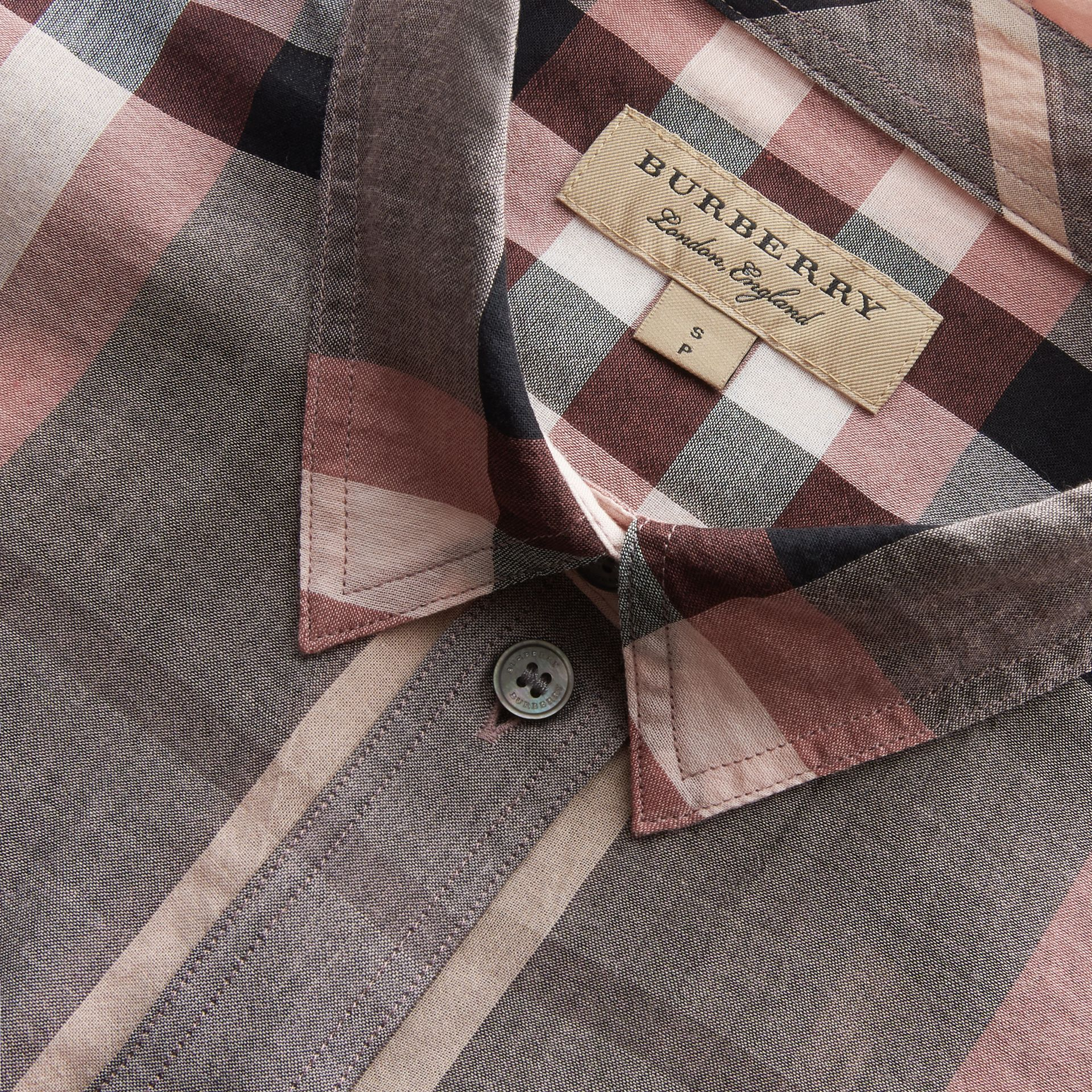 Check Cotton Shirt in Dusty Pink - Women | Burberry - gallery image 2