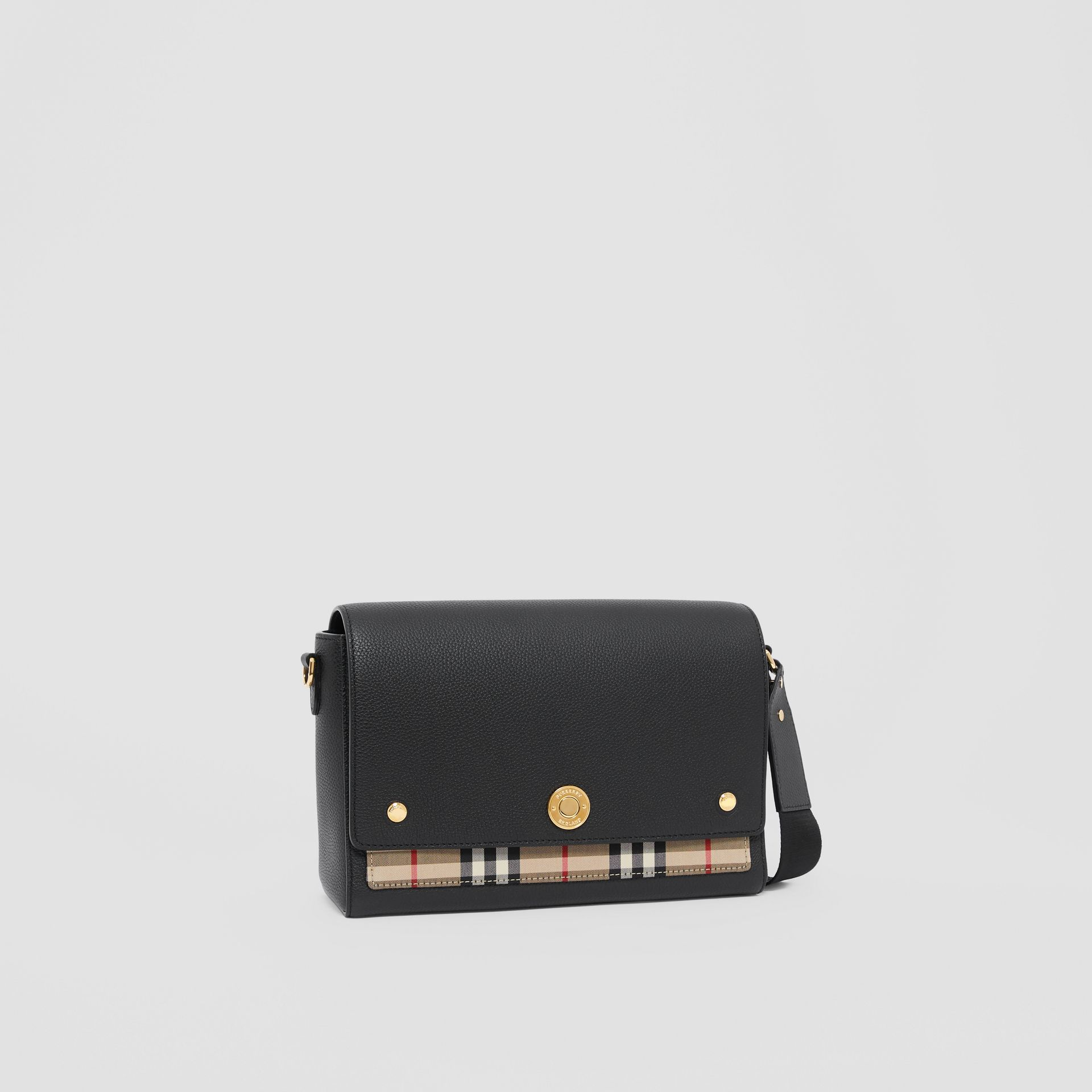 Leather and Vintage Check Note Crossbody Bag in Black - Women | Burberry United Kingdom - gallery image 6