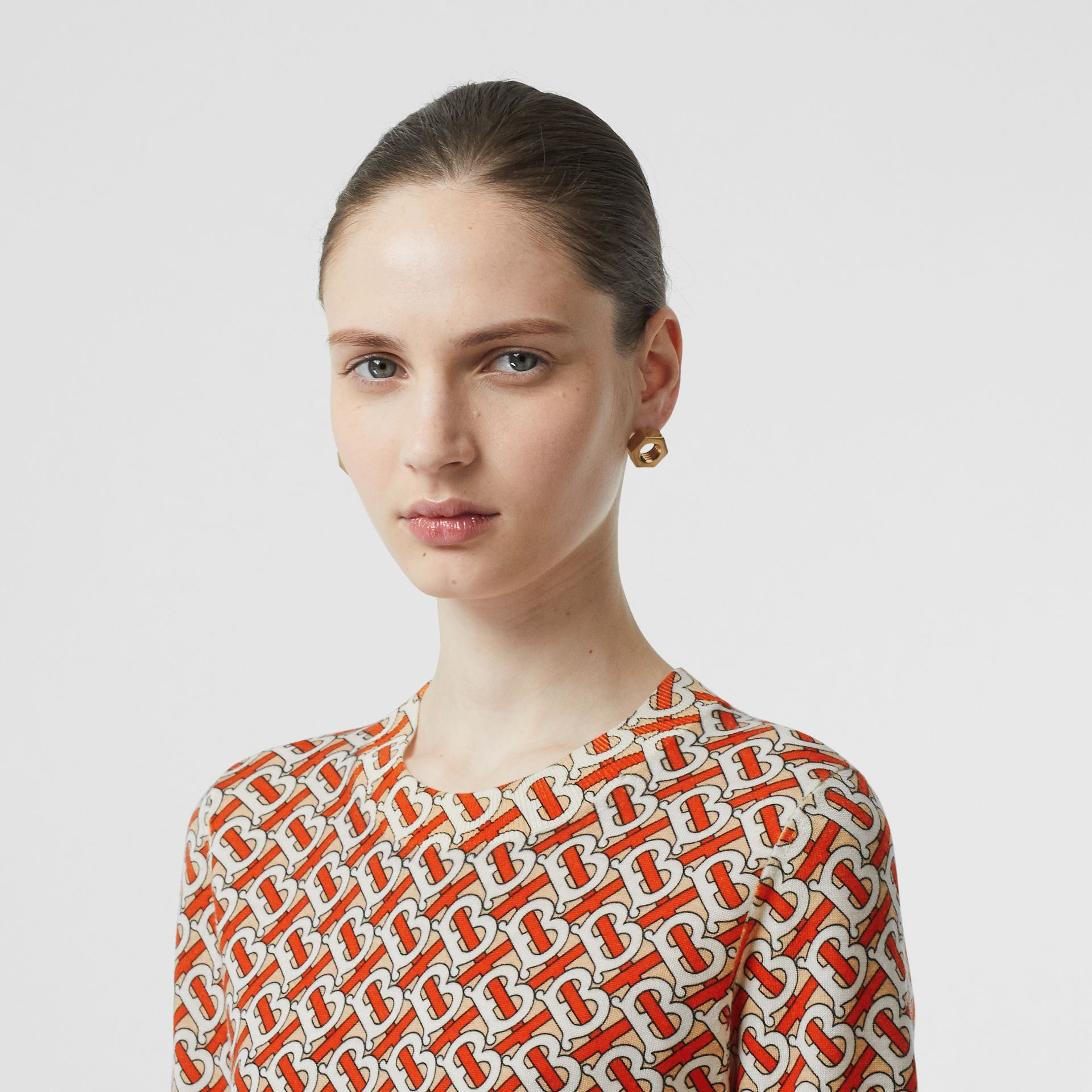 Monogram Print Merino Wool Top in Vermillion - Women | Burberry - gallery image 1