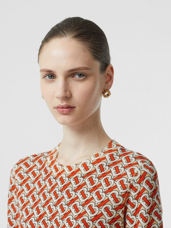 Monogram Print Merino Wool Top in Vermillion - Women | Burberry - cell image 1