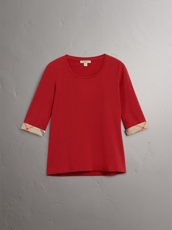Check Cuff Stretch-Cotton Top in Lacquer Red - Women | Burberry - cell image 3