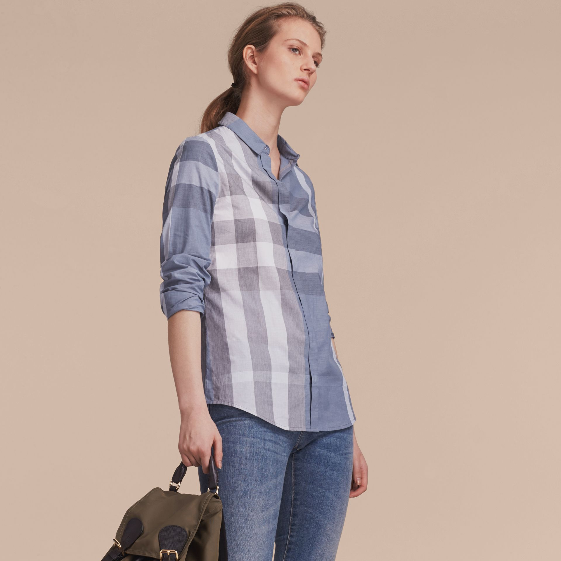 Check Cotton Shirt in Canvas Blue - Women | Burberry - gallery image 5