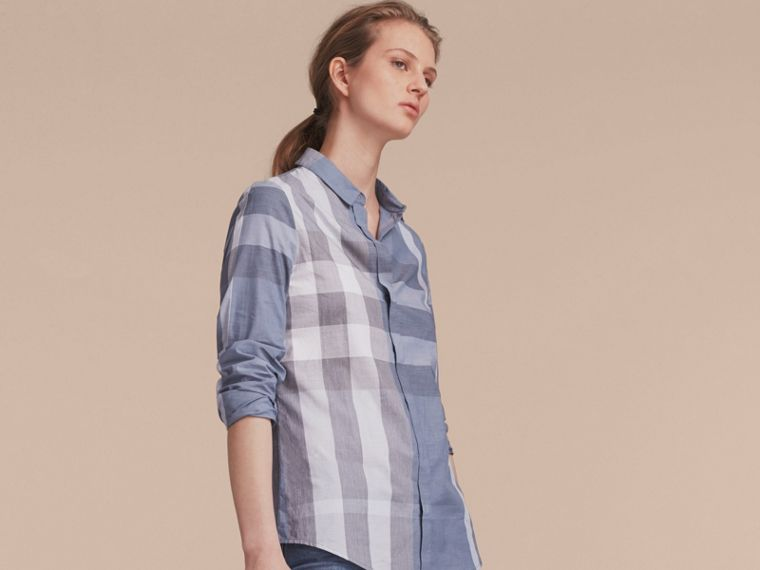 Check Cotton Shirt in Canvas Blue - Women | Burberry - cell image 4