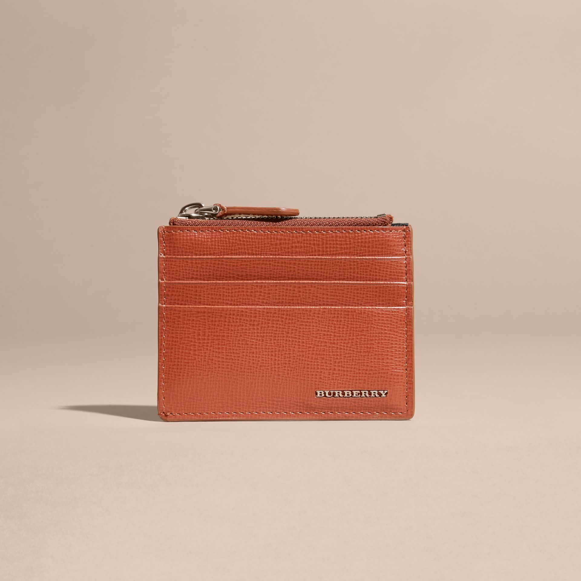 London Leather Zip-top Card Case in Burnt Sienna - gallery image 6
