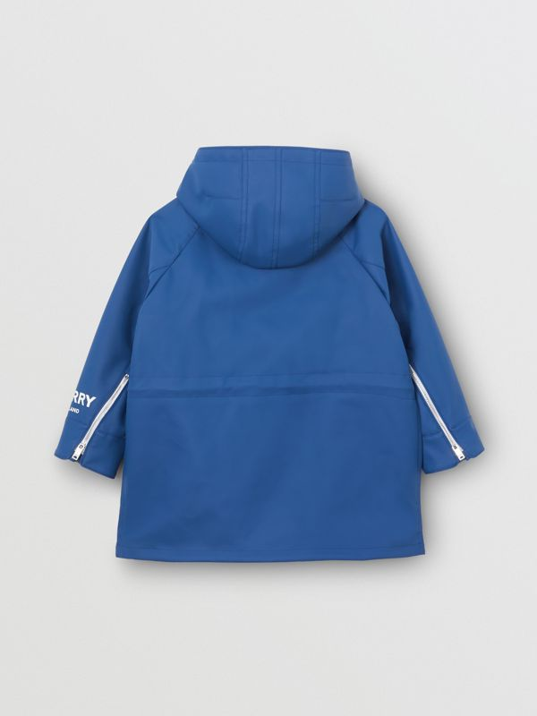 Logo Print Showerproof Hooded Jacket in Imperial Blue - Children | Burberry - cell image 3