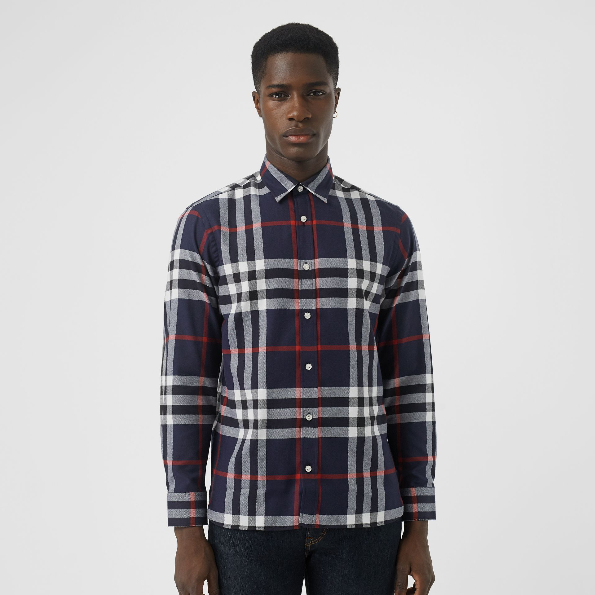 Check Cotton Flannel Shirt in Navy - Men | Burberry - gallery image 0