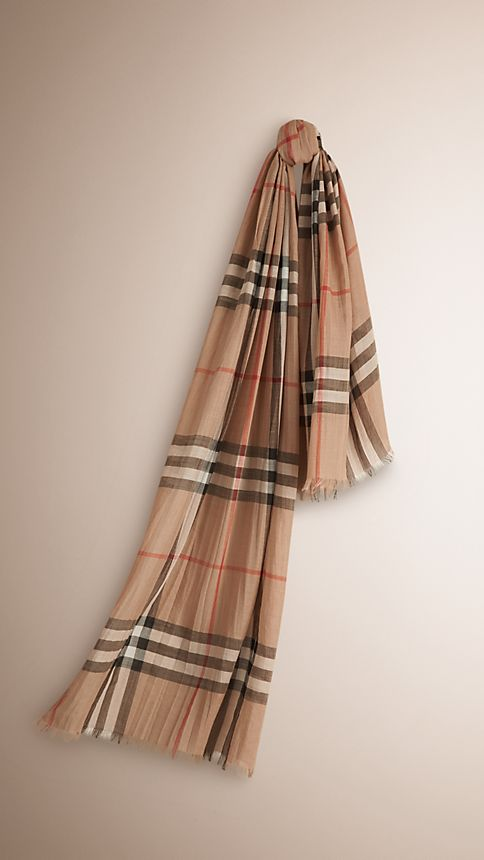 Camel check Lightweight Check Wool and Silk Scarf - Image 1
