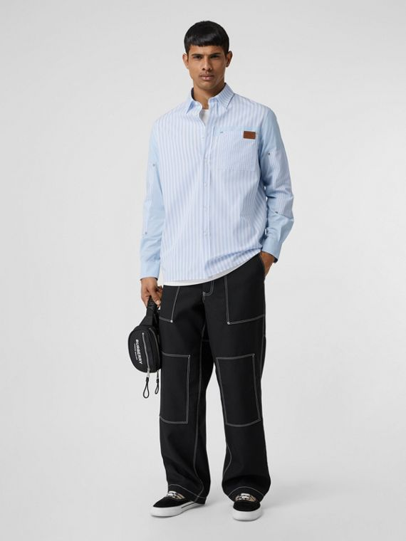 Logo Detail Patchwork Striped Cotton Shirt in Pale Blue Stripe