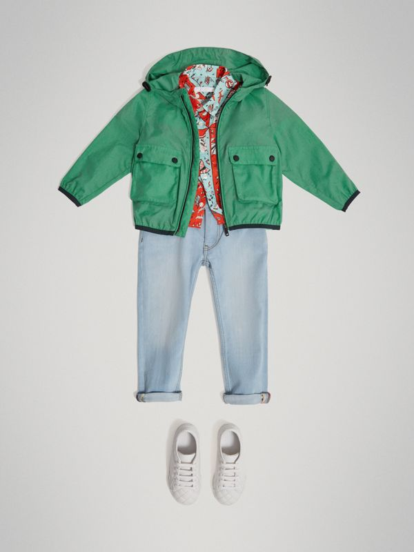 Showerproof Hooded Jacket in Vibrant Green - Boy | Burberry - cell image 2