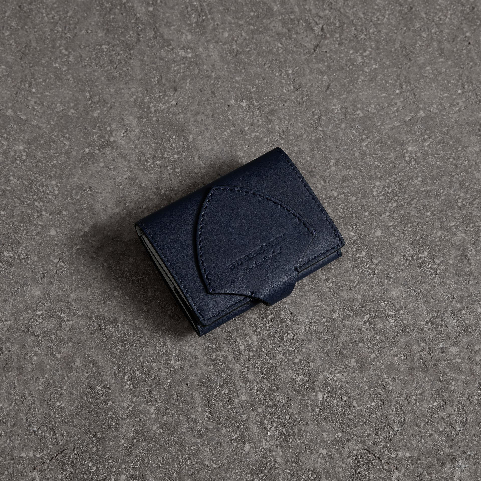 Equestrian Shield Leather Continental Wallet in Mid Indigo - Women | Burberry United Kingdom - gallery image 0