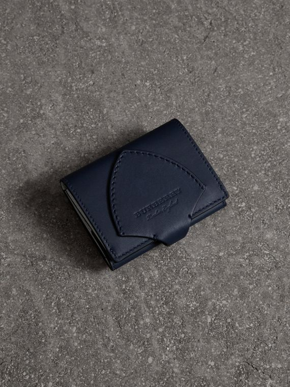 Equestrian Shield Leather Continental Wallet in Mid Indigo