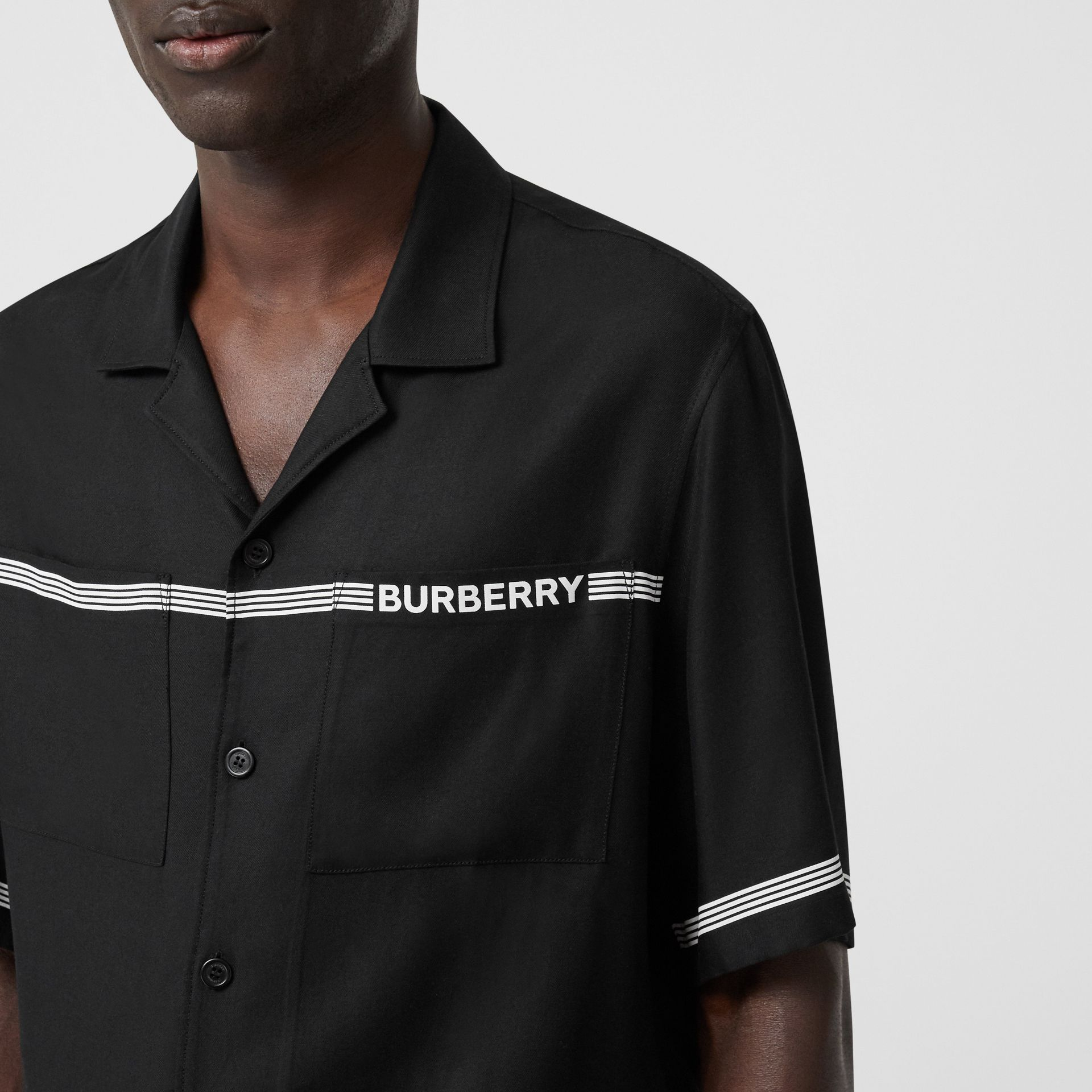 Short-sleeve Logo Print Twill Shirt in Black | Burberry - gallery image 5