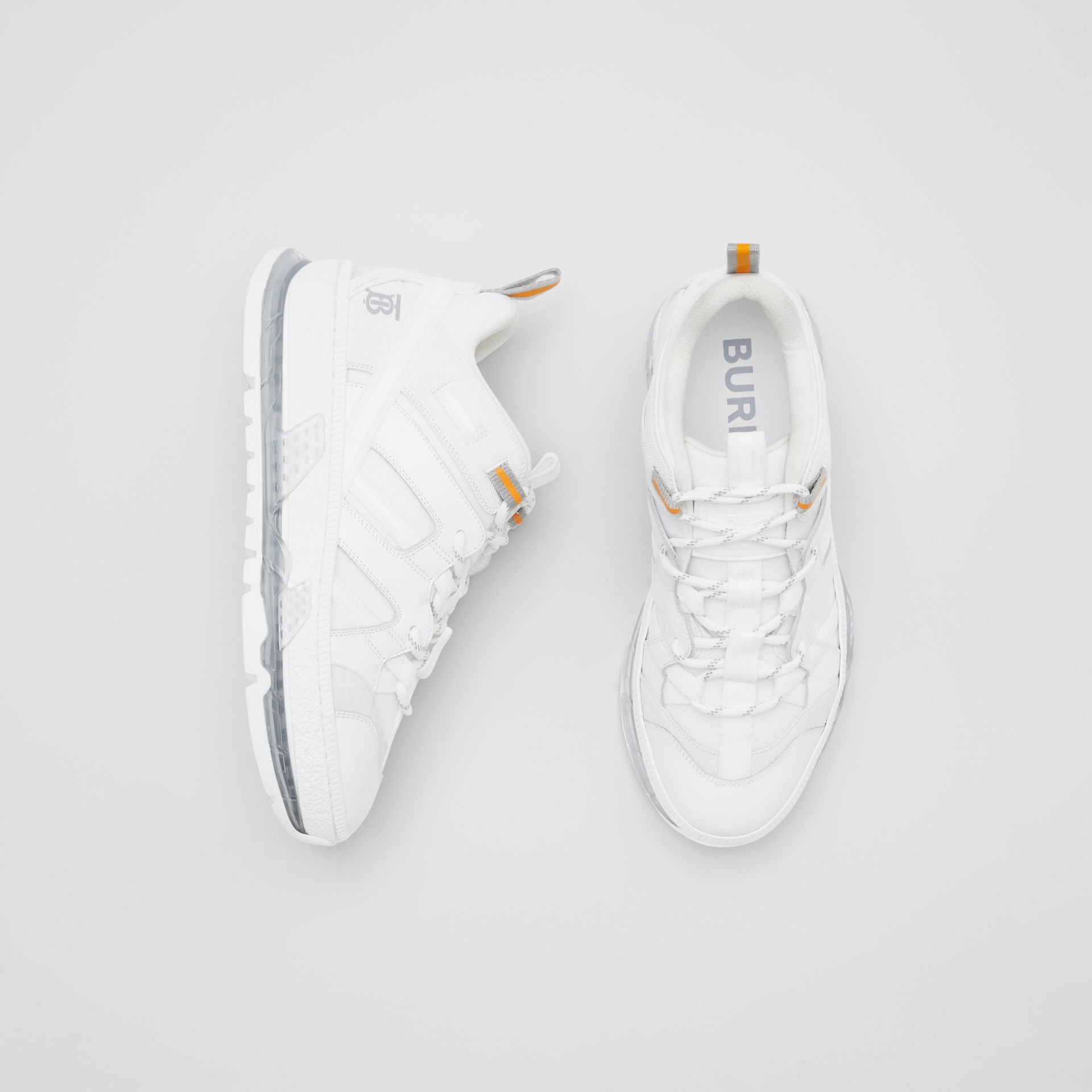 Nylon and Leather Union Sneakers in Optic White - Women | Burberry United Kingdom - gallery image 0