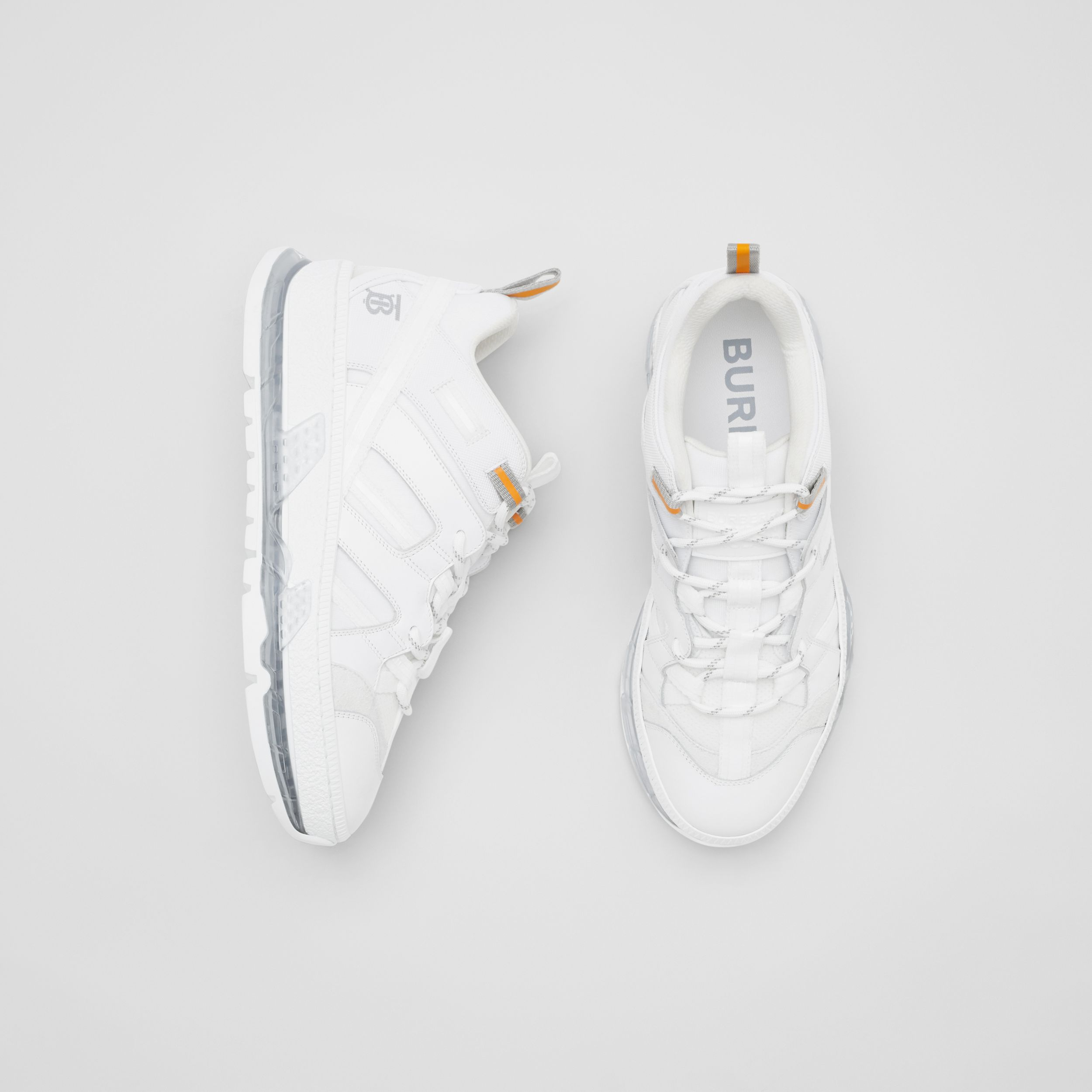 Nylon and Leather Union Sneakers in Optic White - Women | Burberry - 1